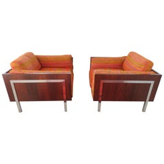 Spectacular Pair Rosewood Chrome Cube Lounge Chairs John Stuart