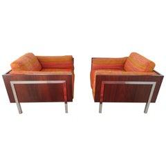 Spectacular Pair Milo Baughman Rosewood Chrome Cube Lounge Chairs John Stuart