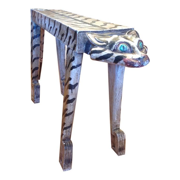 "Whimsical Carved ""Tiger"" Motif Bench For Sale"