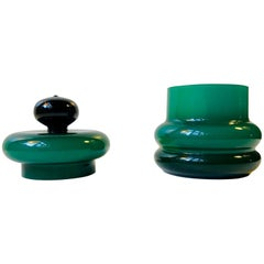 Midcentury Lidded Murano Cased Green Glass Jar by Vistosi, 1960s