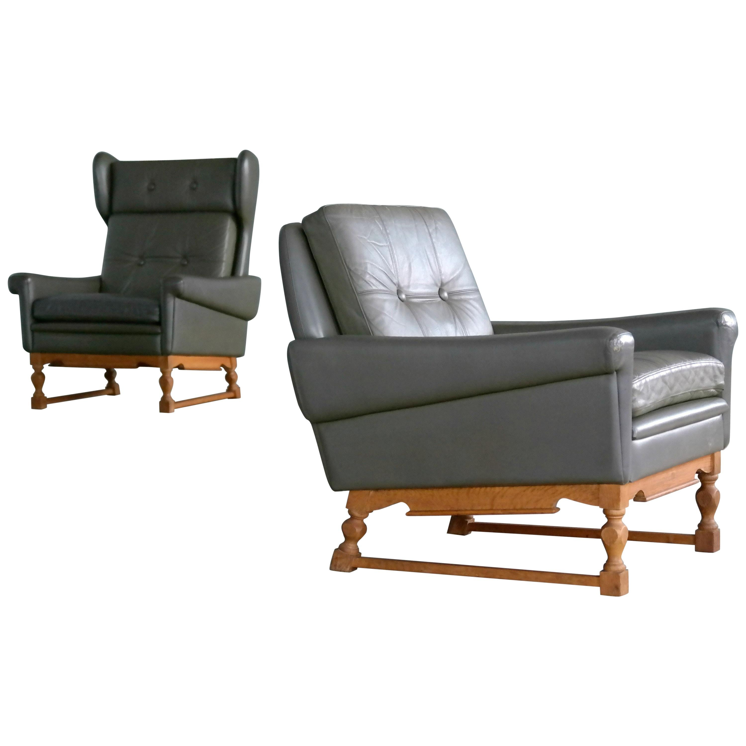 Svend Skipper Pair of High and Low Back Lounge Chairs in Green Leather