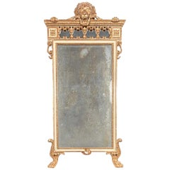 18th Century Italian Giltwood Neoclassic Standing Lion Motif Mirror