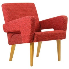 Red Midcentury Armchair by Jitona in Original Upholstery, Czechoslovakia