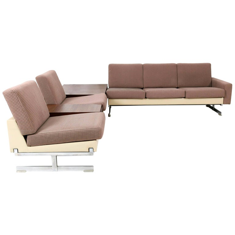 Mid-Century Modern Pluraform Sofas with Wenge Coffee Tables by Rolf Benz, 1964 For Sale