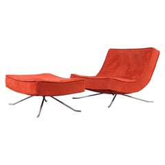 Vintage Red Ligne Roset 'Pop' Easy Lounge Chair and Ottoman by Christian Werner