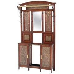 French Oak Art Nouveau Porte Manteau or Coat Stand with Brass Panels, 1900s