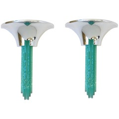 Pair of Chrome and Glass Wall Sconces by Karl Springer