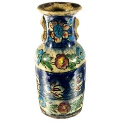 Islamic Antique Persian Style Flower Glazed Small Hand Painted Vase 20th Century
