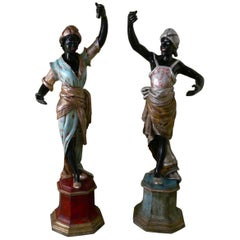 Life Size Pair of Italian Carved Wooden Statues of Nubian Slaves