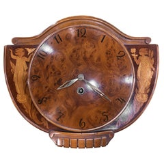20th Century Art Deco Walnut and Root Inlaid Sweden Clock, 1940s