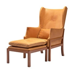 Mogens Koch Wingback Wingback Chair and Ottoman in Mahogany and Cognac Leather