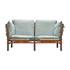 Arne Norell 'Ilona' Sofa with Buffalo Leather and Sky Blue Fabric