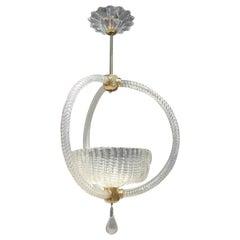 Round Barovier Ceiling Lamp Lantern Murano Art Glass Midcentury Italian Design