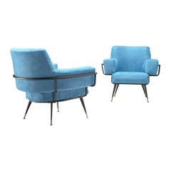 Rito Valla Pair of Easy Chairs in Azure Blue Upholstery
