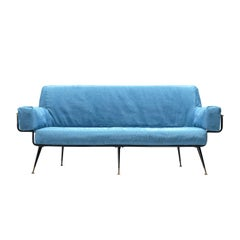 Valla Rito Sofa with Metal Frame in Azure Blue Upholstery