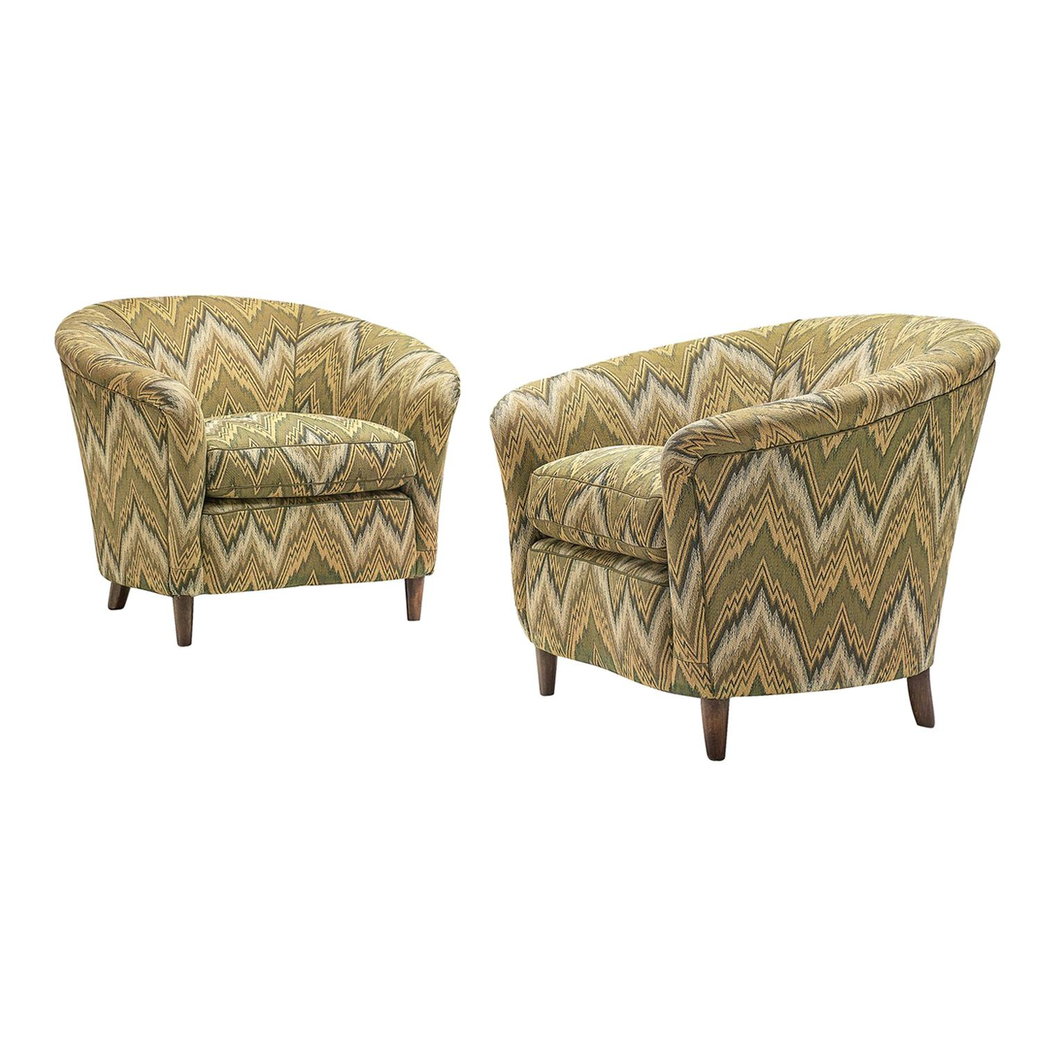 Italian Pair Of Club Chairs In Green Patterned Upholstery For Sale
