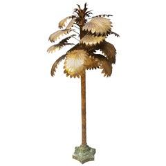 Gold Metal Decorative Palmtree, Midcentury