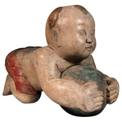 Asian Hand Carved Wooden Lucky Thai Baby Buddha SALE