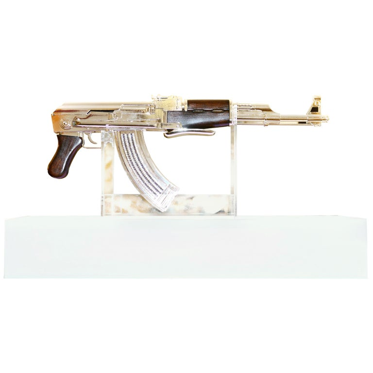 AK-47 in Silver Finish Art Sculpture Demilitarized For Sale