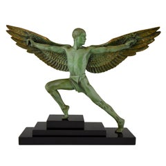 Art Deco sculpture Icarus winged male nude Max Le Verrier, 1930