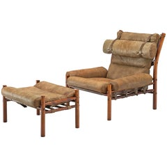 Arne Norell 'Inca' Lounge Chair with Ottoman in Patinated Leather