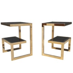 Gold 23-Karat G- Side Tables Maison Jansen, Mid-Century Modern