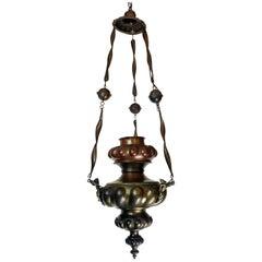 Italian 19th Century Hanging Votive Lantern Oil Lamp Sanctuary Chandelier