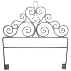 Pair Wrought Iron Scrollwork Headboards