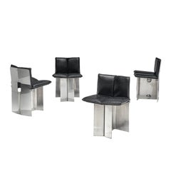 Maison Jansen Steel and Leather Dining Chairs