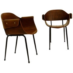 Pair of Plywood Molding Armchairs, Italy, circa 1955