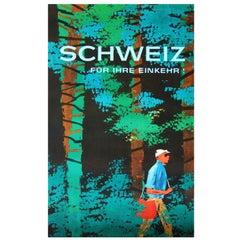 1960s Mid-Century Modern Switzerland Travel Poster