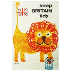 "Rare 1960s ""Keep Britain Tidy"" Lion Poster Folk Art Illustration Royston Cooper"