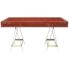 1970s Original Red Lacquered Albrizzi Desk with Brass Trestle Legs and Inlay
