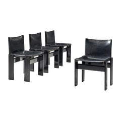 Afra and Tobia Scarpa Set of Four Black Monk Chairs