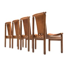 Set of Four Finnish Dining Chairs in Patinated Cognac Leather