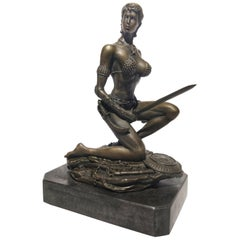 20th Century Art Deco Sculpture Figure Plum Bronze Amazon Warrior
