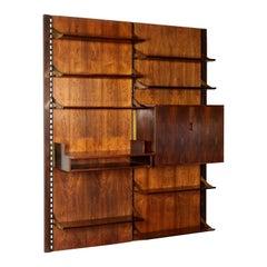 Wall Bookcase Wood Veneer Brass Vintage Italy 1960s