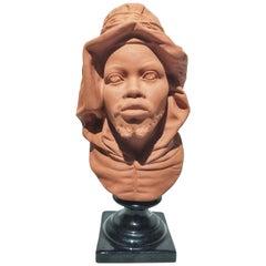 19th Century Victorian Terracotta Bust North Berber Man Restored
