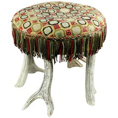 Antique Rustic Antler Stool, circa 1900