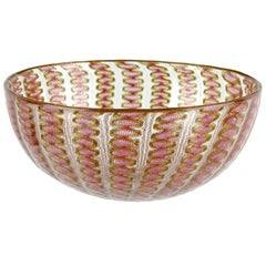 Salviati Venetian Antique Pink Ribbons Aventurine Italian Art Glass Dish Bowl