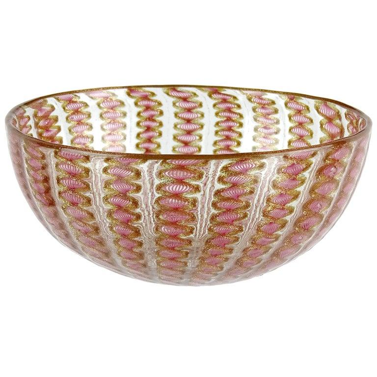 Salviati Venetian Antique Pink Ribbons Aventurine Italian Art Glass Dish Bowl For Sale