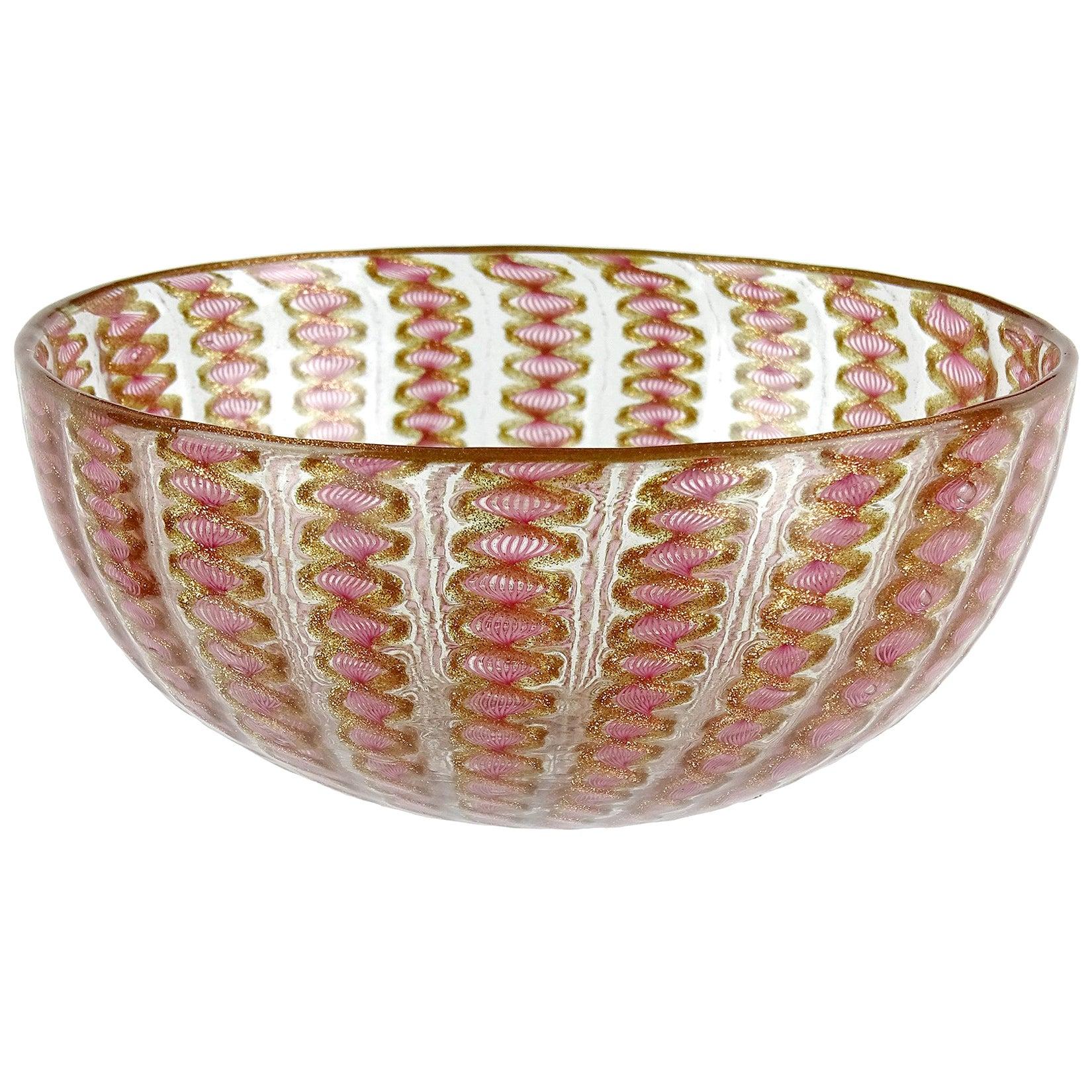 Salviati Venetian Antique Pink Ribbons Aventurine Italian Art Glass Dish Bowl