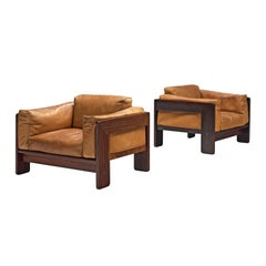 Tobia Scarpa Pair of 'Bastiano' Club Chairs in Rosewood and Cognac Leather