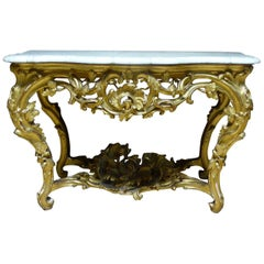19th Century Marble and Gilded Wood Louis XV Style Console