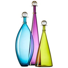 Set of Three Blown Glass Bottles in Vibrant Jewel Tones by Vetro Vero