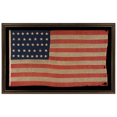 38 Hand Sewn, Single-Appliqued Stars on an Antique American Flag