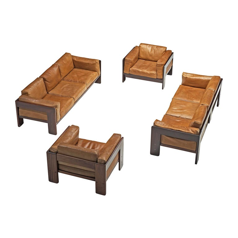 Tobia Scarpa 'Bastiano' Living Room Set in Rosewood and Cognac Leather For Sale