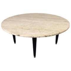 Travertine Round Midcentury Coffee Table in the Style of Ico Parisi