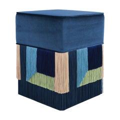 Couture Geometric Wien Blue Ottoman