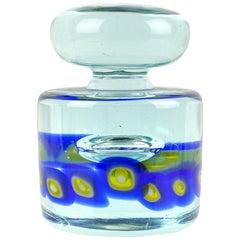 Murano Sommerso Blue Yellow Murrines Italian Art Glass Paperweight Sculpture